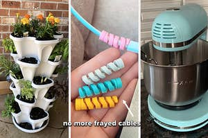 on left reviewer photo of vertical planter, in middle reviewer photo of pastel cable menders, on right reviewer photo of blue stand mixer