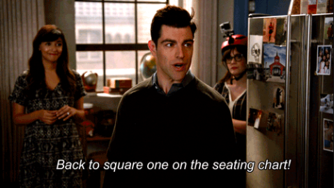 Schmidt complaining about doing the seating for the wedding