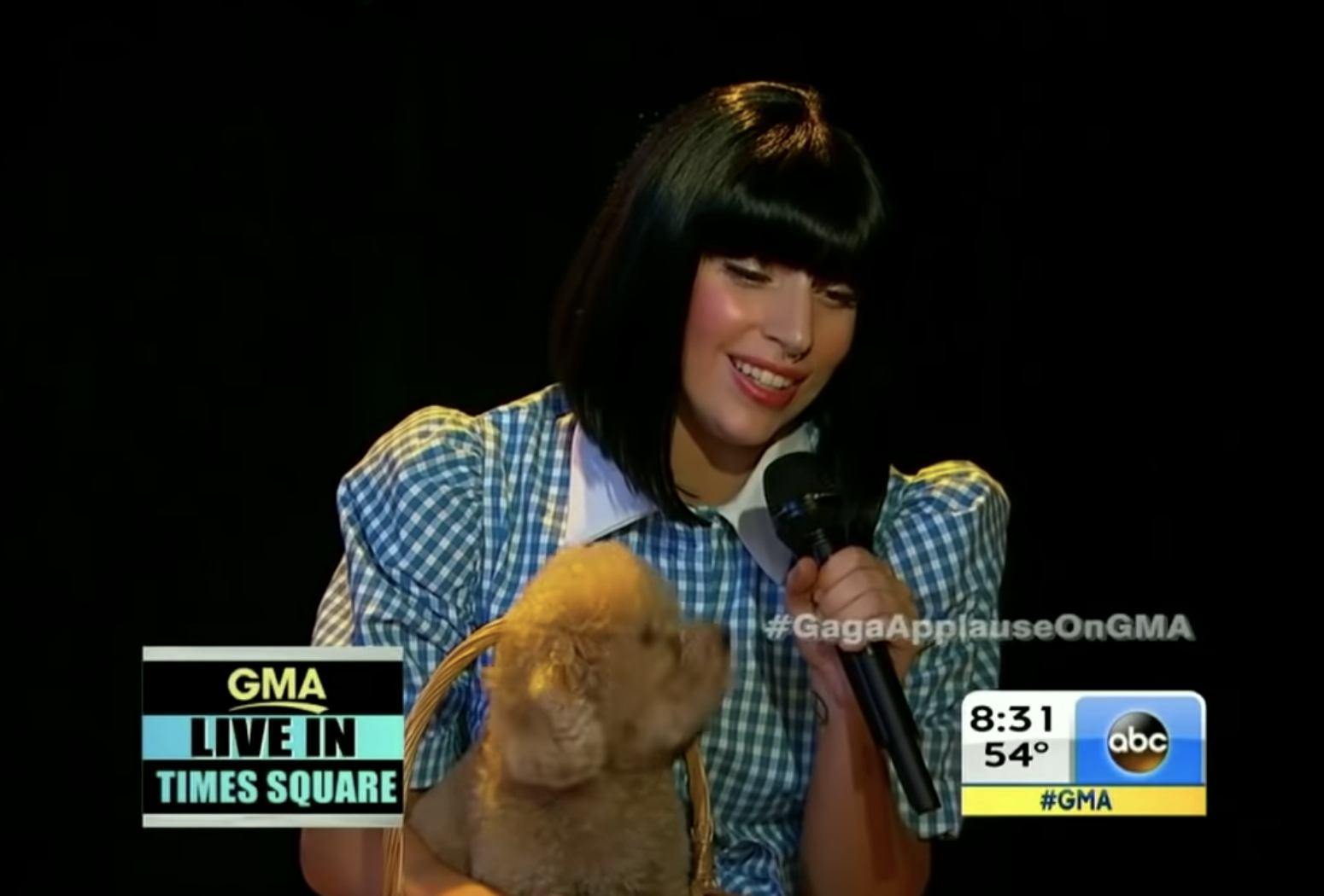 Gaga singing in a short black bob while carrying a real dog in a basket
