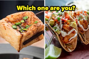 Tofu is in between chopsticks with shrimp tacos on the right