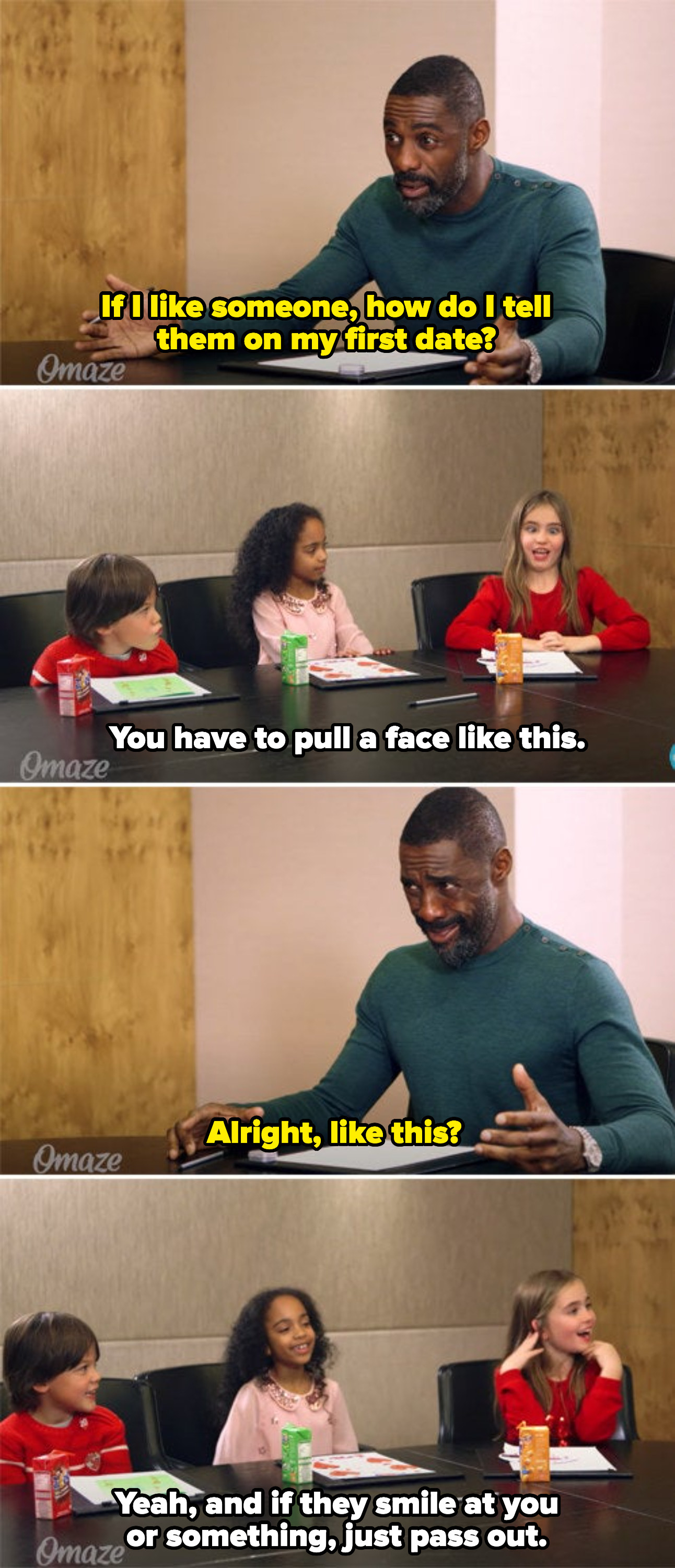 Idris asking kids how to tell a girl on a date that he likes her, a kid saying to make a face, Idris repeating the face, and the kid telling him if they smile at him, just pass out