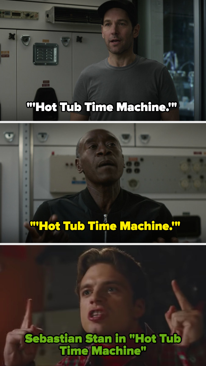 Scott and Rhodey bring up Hot Tub Time Machine and then there's a picture of Sebastian Stan in Hot Tub Time Machine