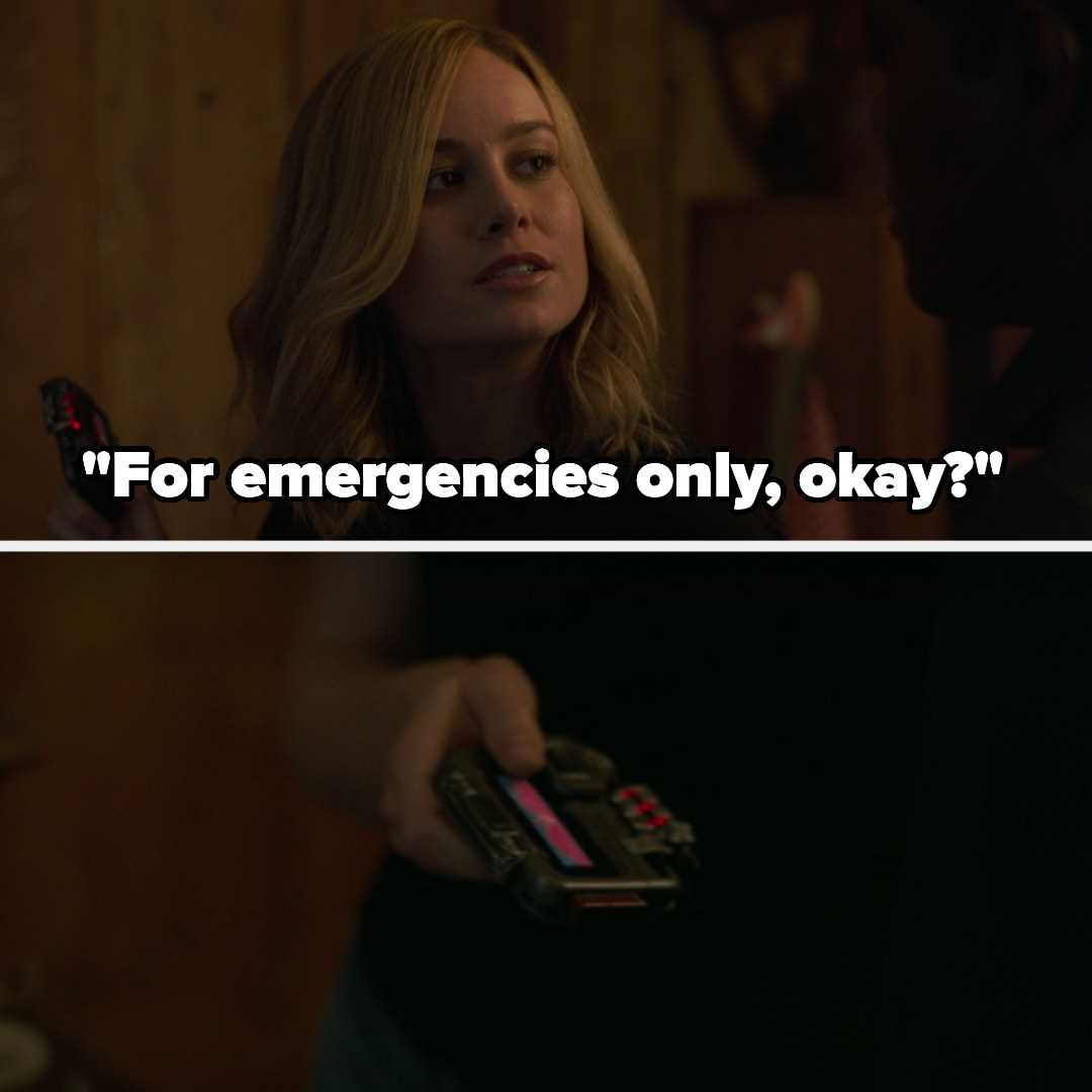 Carol gives Fury the pager, telling him it's for emergencies only