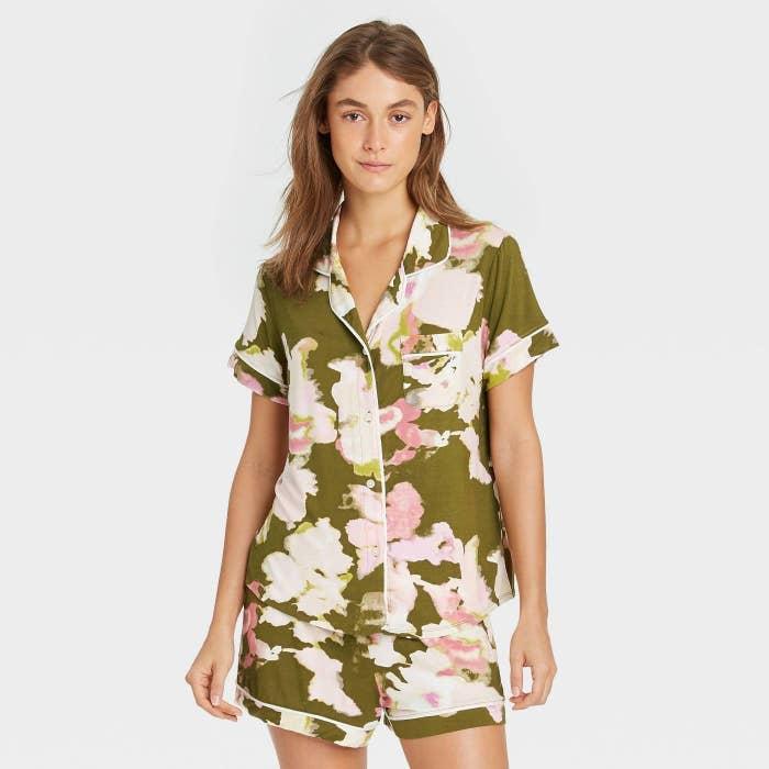model wearing pajamas