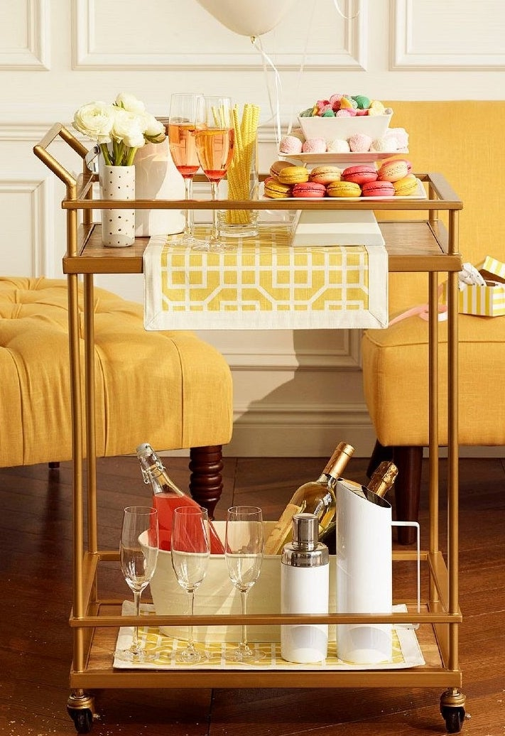 bar cart with drinks on it