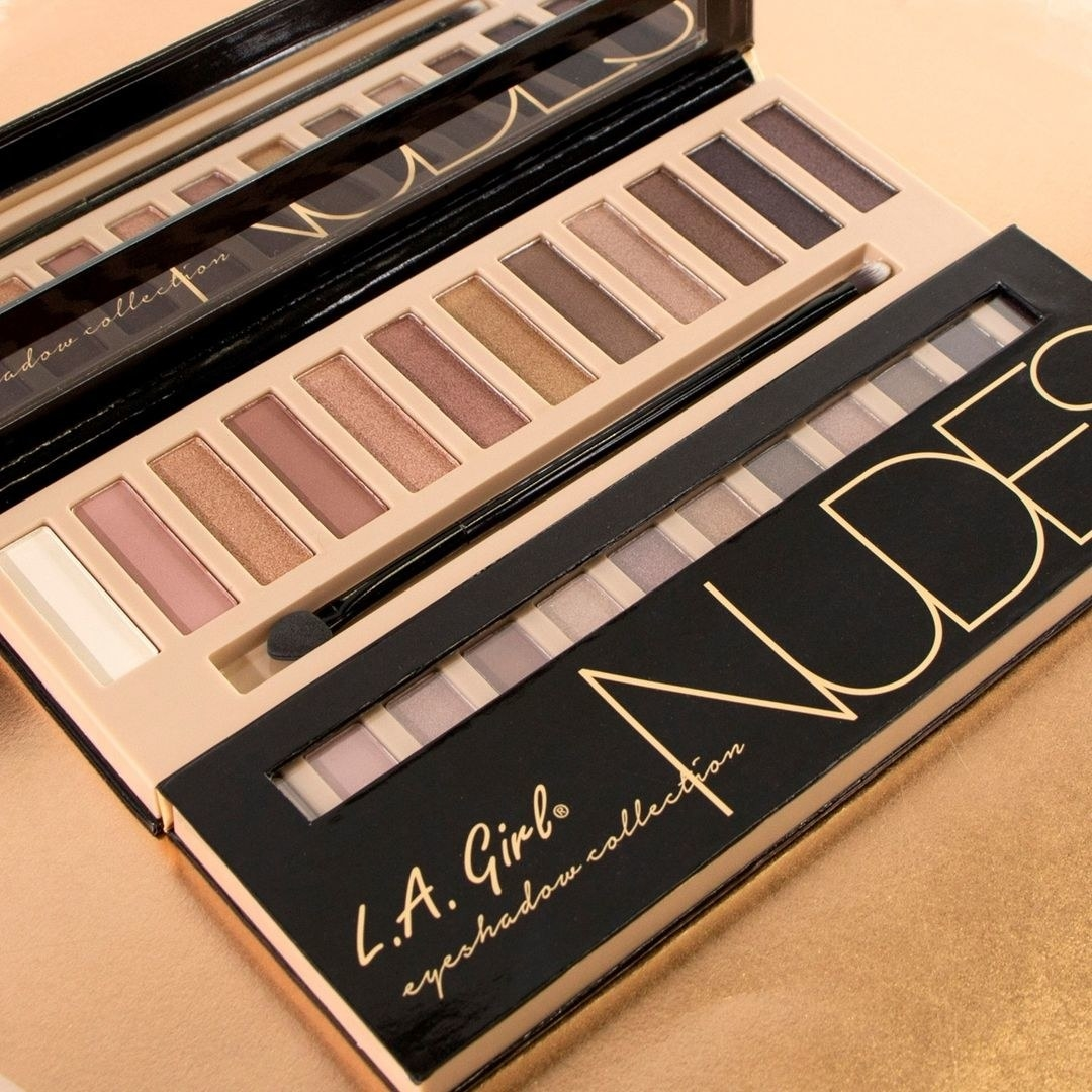 LA Girl Nude palette opened showing shades