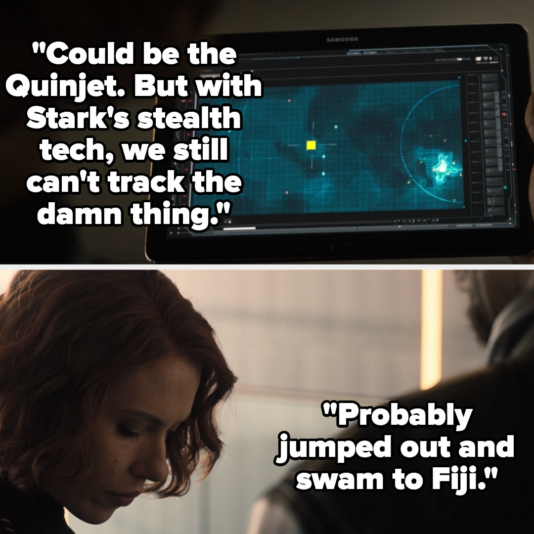Fury shows Natasha a dot on a map and says it could be the Quinjet but with Stark's stealth they can't track it, telling Natasha Bruce probably jumped out and swam to Fiji