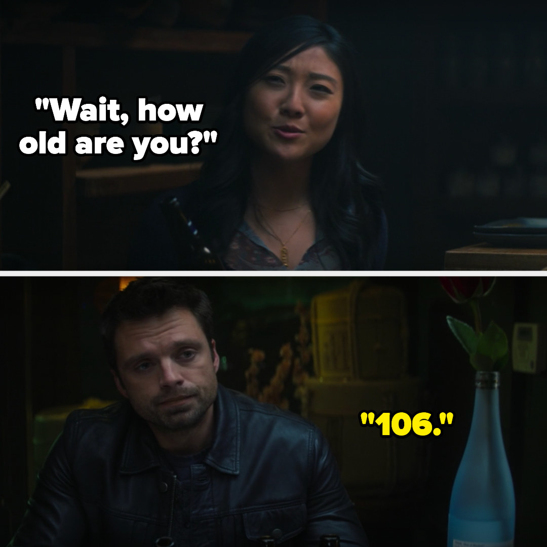 "Bucky's date asks how old he is and he says ""106"""