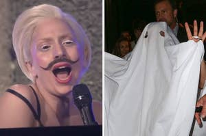 Gaga with a Salvador Dali mustache on and Gaga wearing a tablecloth like a ghost