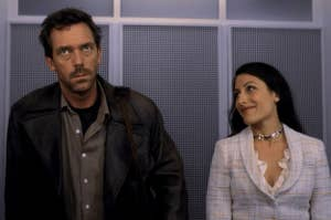 Dr. House and Dr. Cuddy ridding up in the elevator together