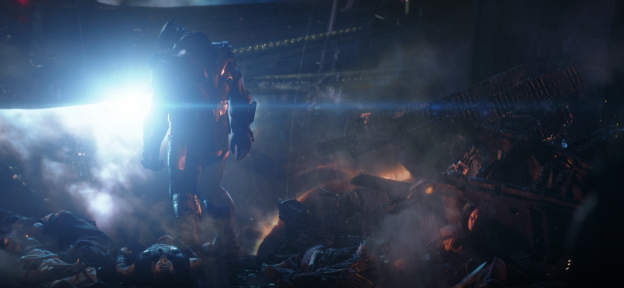 Thanos standing over bodies in the ship