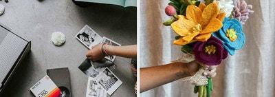 (left) Legacy Box (right) Felt flower bouquet