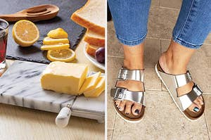 a cheese board and a reviewer wearing silver birkenstocks