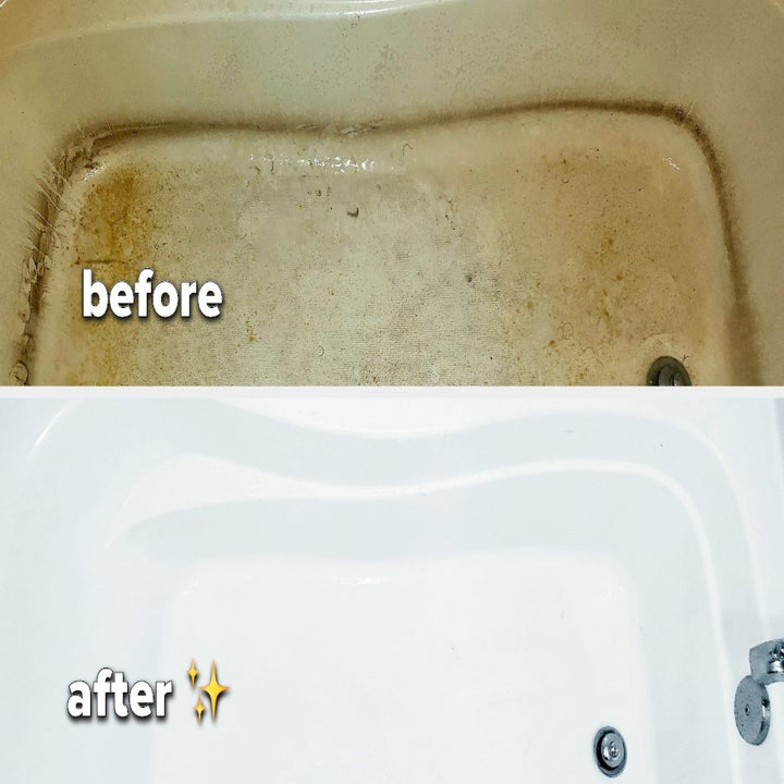 A before and after image of a tub with hard water stains