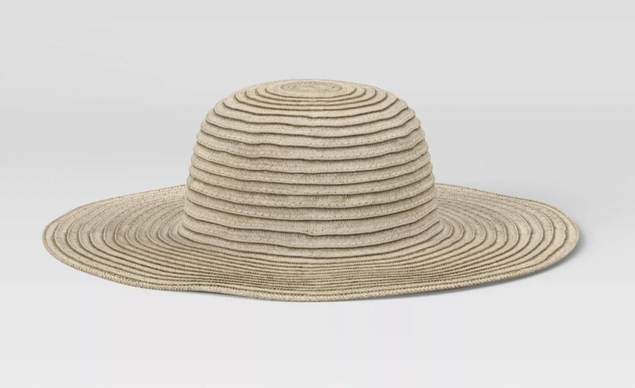 a brown woven sun hat