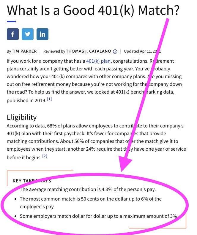 Screenshot of 401(k) information