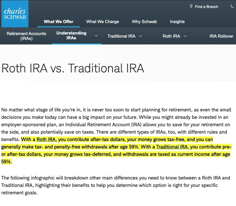Screenshot of explanation of Roth and traditional IRAs