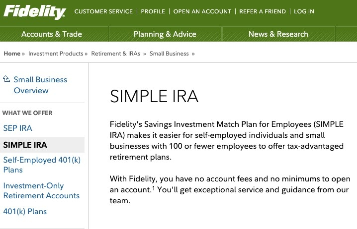 Screenshot of information on a SIMPLE IRA