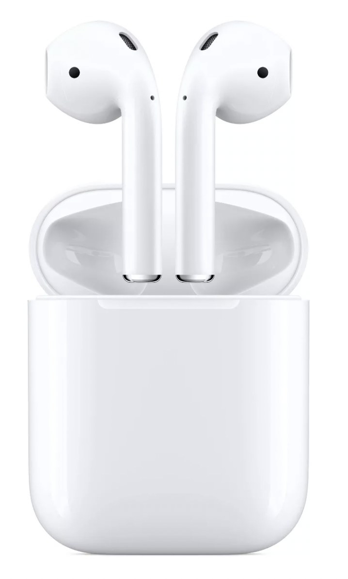 a pair of white Apple AirPods in their charging case