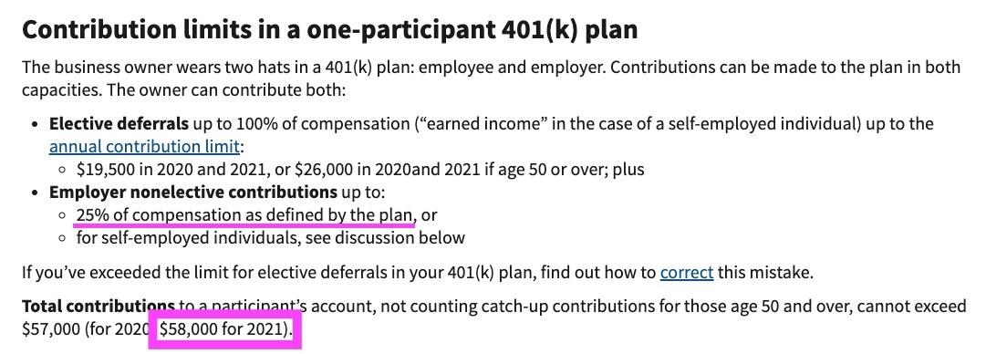 Screenshot of Solo 401k plan