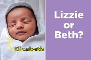 """A baby with the name """"Elizabeth"""" and the nicknames """"Lizzie"""" and """"Beth"""""""