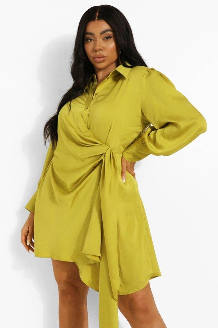 model wearing the sleeved dress