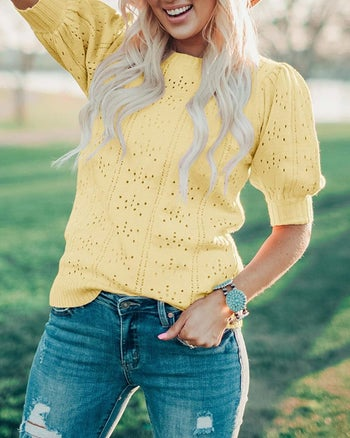 front view of a model wearing the top in yellow