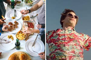 "On the left, people standing around a dining room table covered with salad, fries, sliders, and a charcuterie board, and on the right, Andy Samberg standing with outstretched arms as Nyles in ""Palm Springs"""