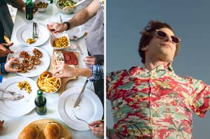 On the left, people standing around a dining room table covered with salad, fries, sliders, and a charcuterie board, and on the right, Andy Samberg standing with outstretched arms as Nyles in