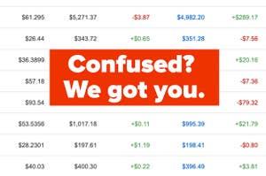 Screenshot of gains and loses