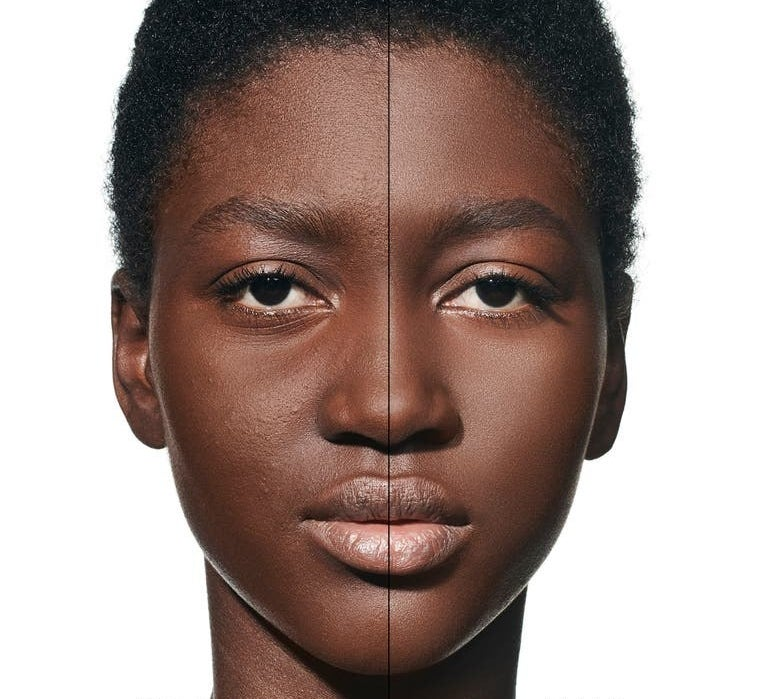 A model before and after using the product, with their skin matte and even after