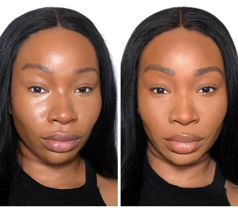 A model before and after using the product, with their face matte and even after