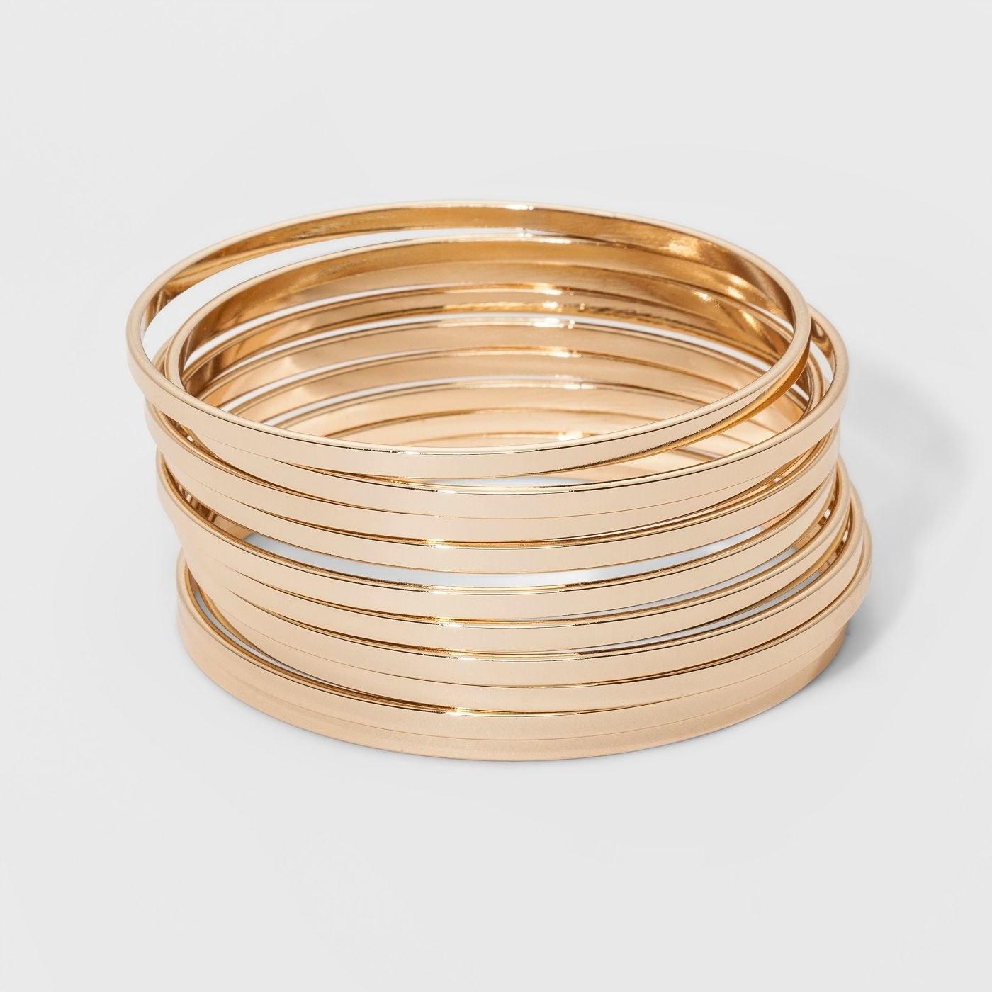 Set of 10 gold bangles