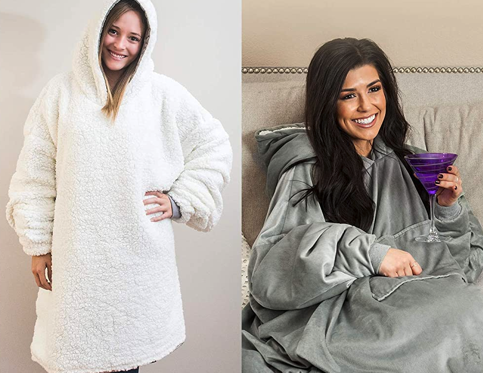 two people wearing the hoodie blanket with sherpa lining on the outside, and the other person wearing it on the inside