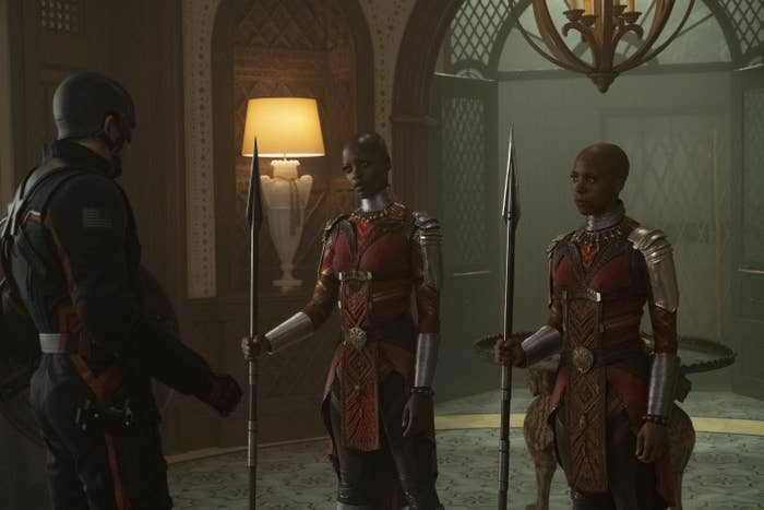"""Two of the Dora Milaje warriors (Florence Kasumba and Zola Williams) in the latest episode of """"The Falcon and the Winter Soldier"""""""