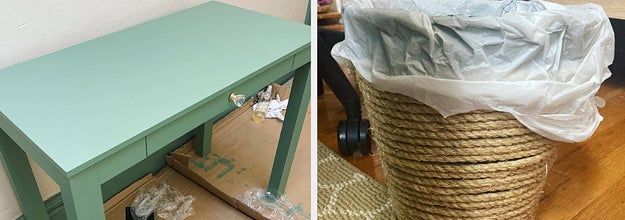 A bright desk next to an image of a trash can covered in rope