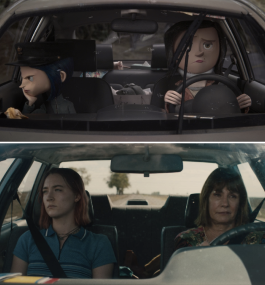 Coraline and her mom driving angrily in the car; Lady Bird and her mom driving angrily in the car