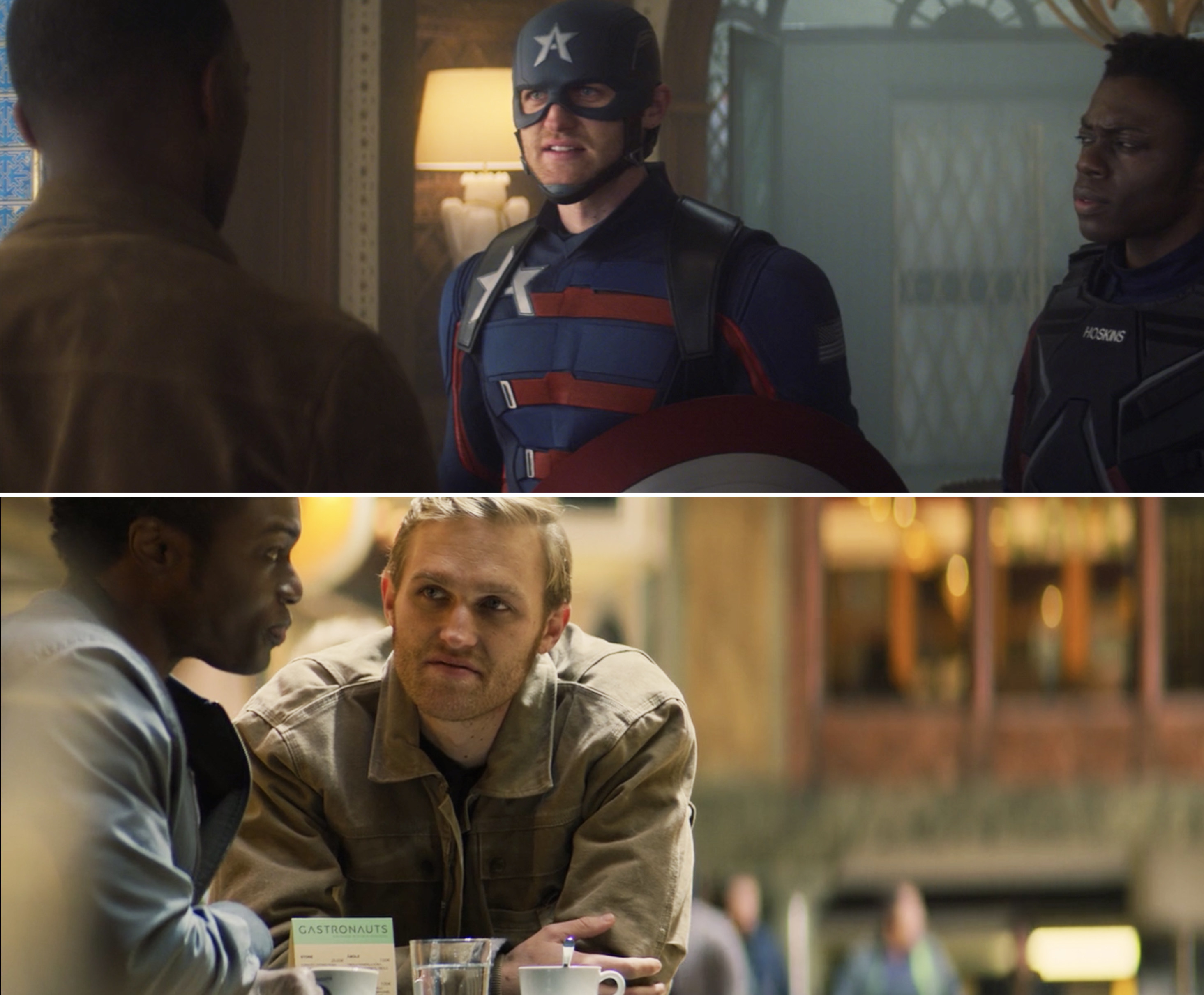 Wyatt in his Captain America costume and civilian clothes while with Battlestar