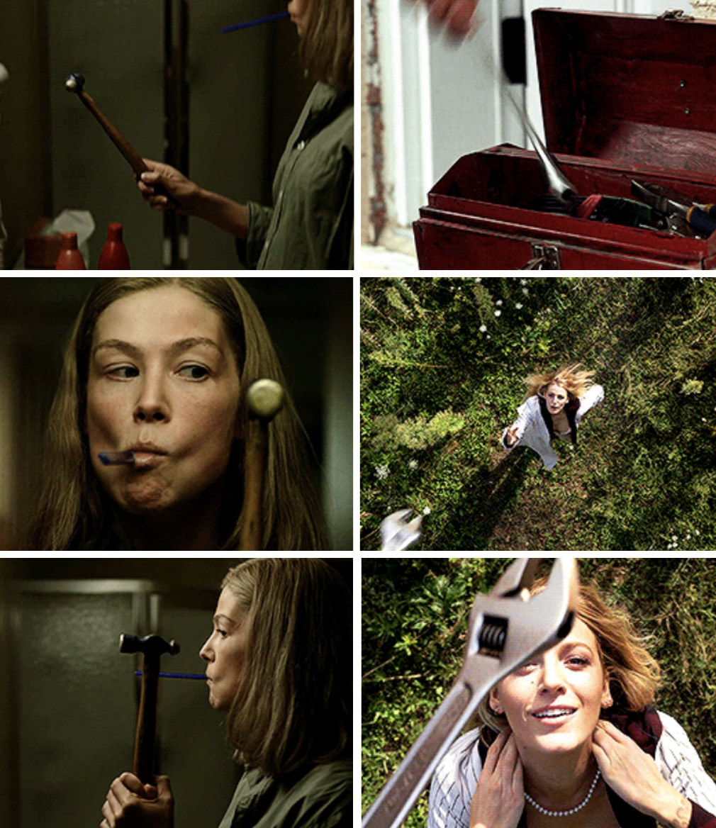 "Emily from ""A Simple Favor"" throwing a wrench at her head, similar to Amy sledging a hammer to her eye in ""Gone Girl"""