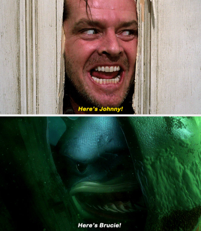 "The shark from ""Finding Nemo"" making a reference to ""The Shining"" by screaming: ""Here's Brucie!"""