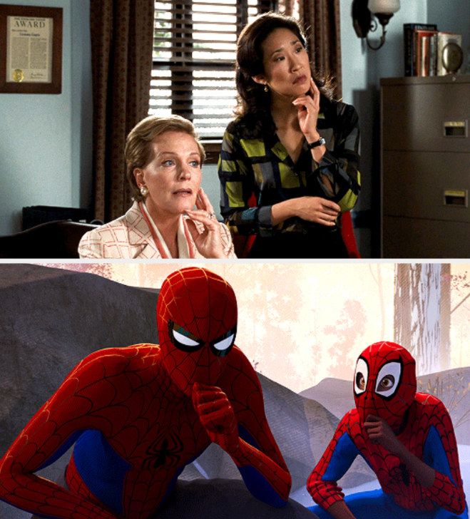 Principal Gupta copying Queen Clarisse's pose in her office; Miles copying Spider-Man's chin stance
