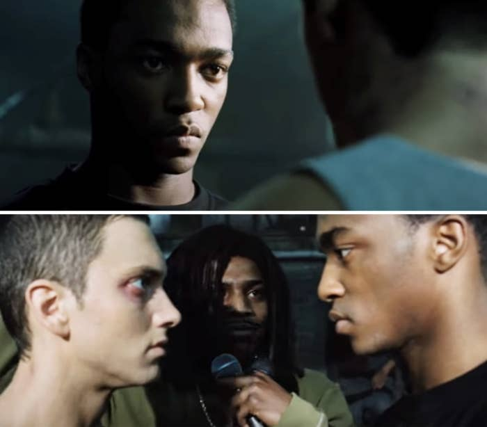 Anthony facing off against Eminem in a rap battle in 8 Mile