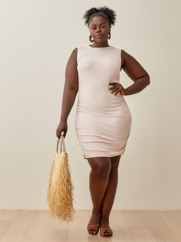 model wearing the bodycon dress
