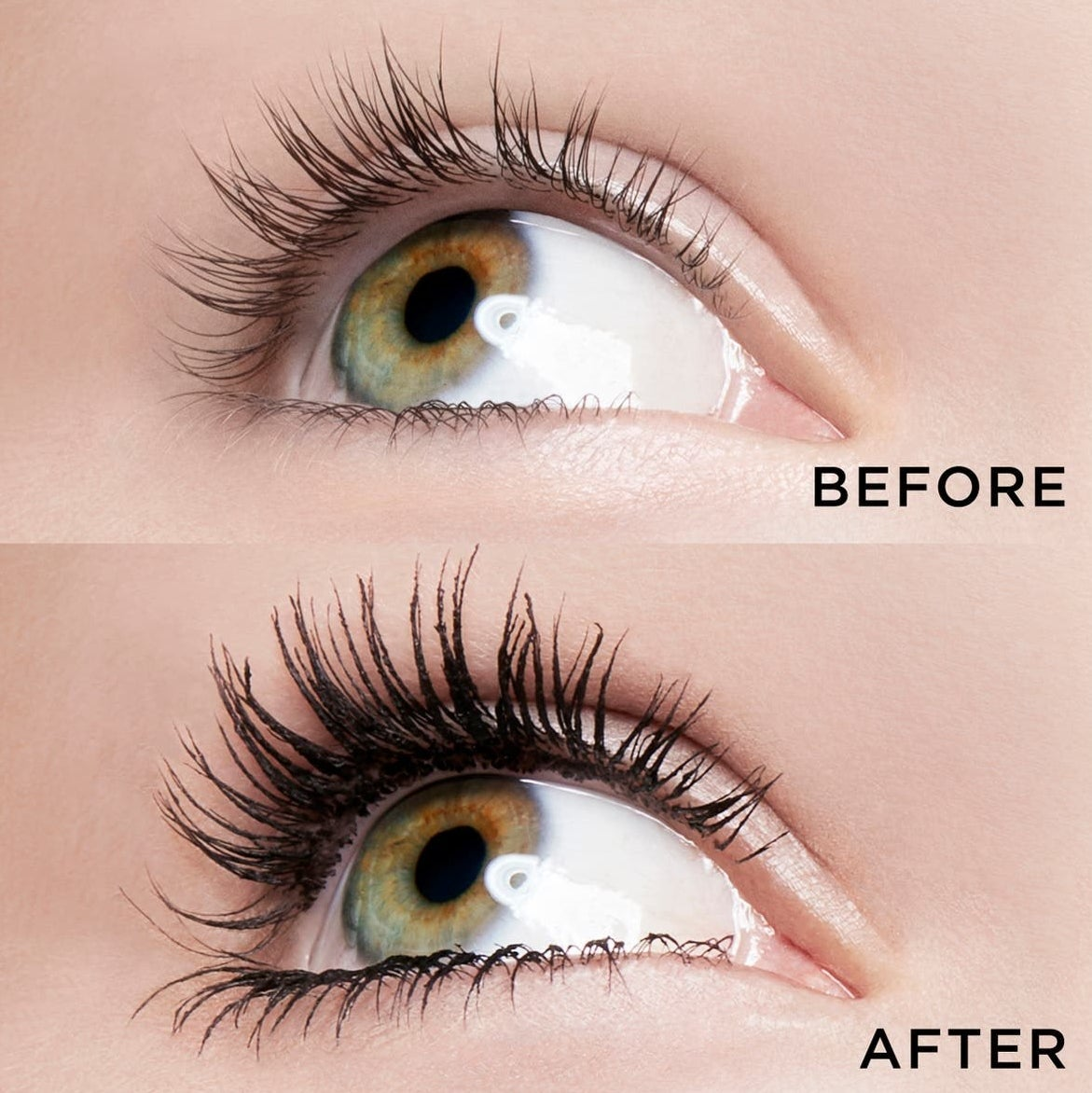 A model before and after applying the product, with thick and luscious lashes after