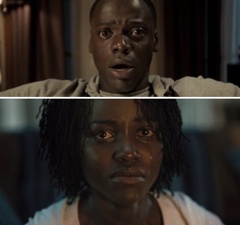 "A close up of Chris crying in ""Get Out;"" a close up of Adelaide crying in ""Us"""