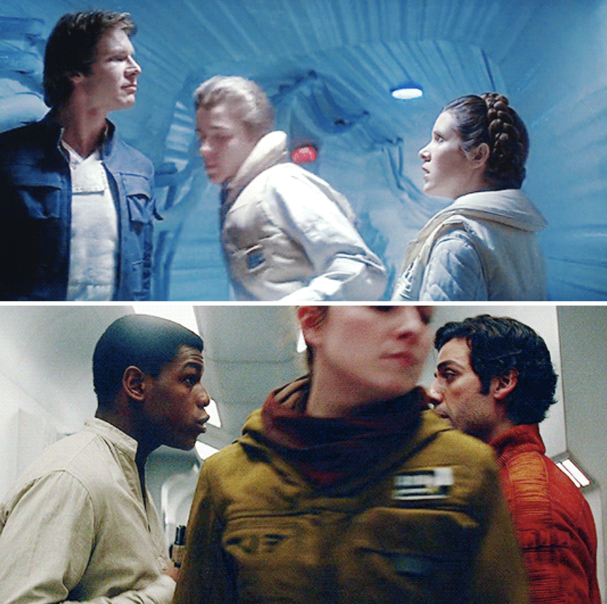 "Han Solo and Lei having an intense conversation while someone walks through them in ""The Empire Strikes Back;"" Poe and Finn doing the same in ""The Last Jedi"""