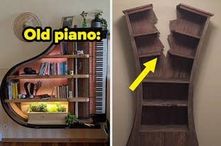 A bookshelf that's actually a piano and a bookshelf that looks like it's been struck by lightning