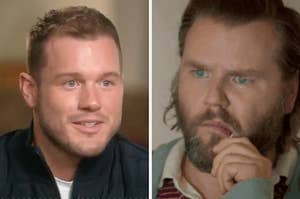 Colton Underwood and a reaction image of a man looking a little mystified