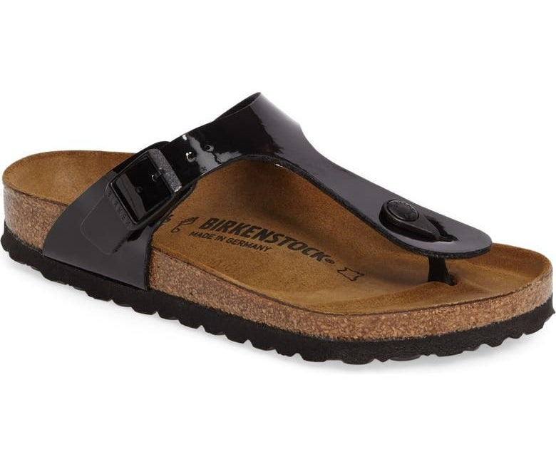 The sandals in Black Patent