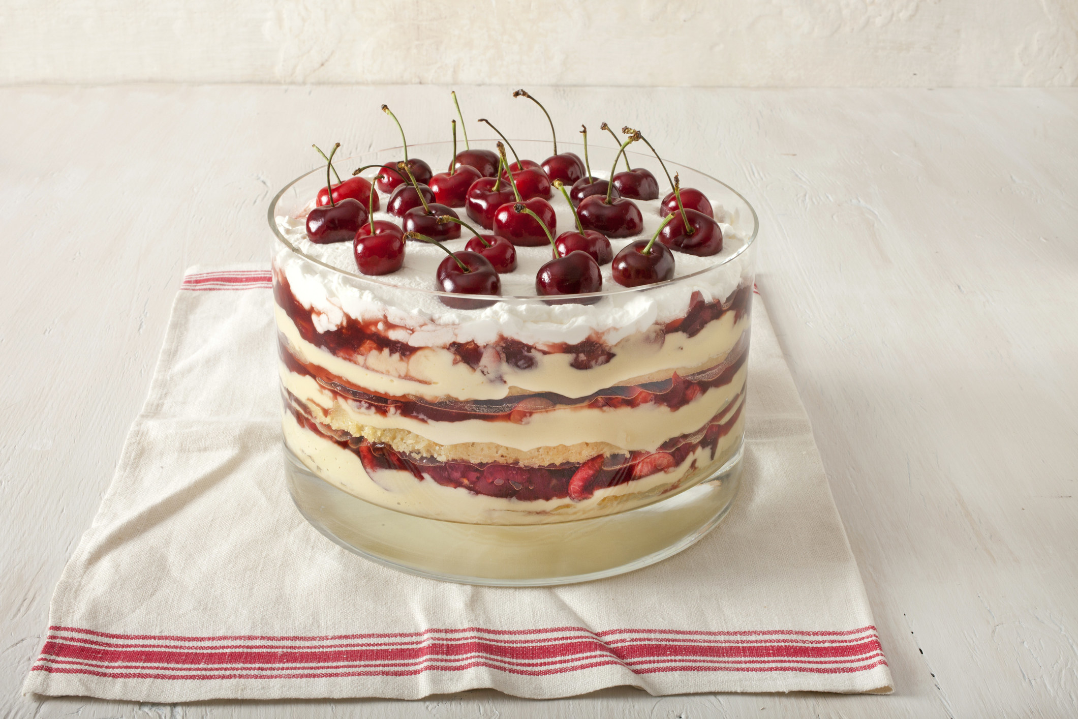A dessert in a deep bowl with layers of cake, berries, and custard with a layer of cream and cherries on top